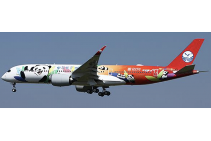 """Sichuan Airlines Airbus A350-900XWB """"Panda Route Livery"""" """"Flap Down"""" Reg: B-306N With Antenna 1:400"""